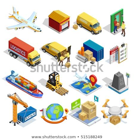 репортер грузовика изометрический икона вектора знак Сток-фото © pikepicture