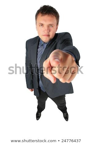 Hombre distorsionado perspectiva puntos dedo oficina Foto stock © Paha_L