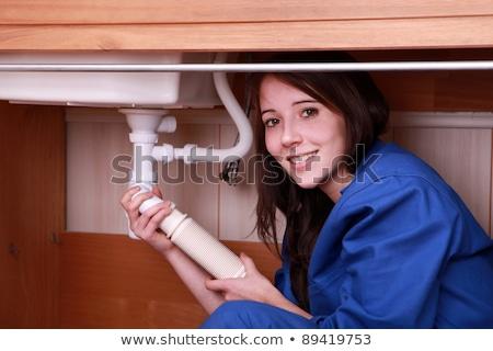 Zdjęcia stock: Młoda · kobieta · hydraulik · odpadów · dziewczyna · kuchnia