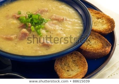 Presunto sopa azul tigela comida Foto stock © fotogal