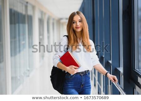 Dziewczyna korytarzu kobiet posiedzenia sexy Zdjęcia stock © iofoto