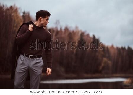 homem · jovem · carvalho · planta · sujeira - foto stock © photography33