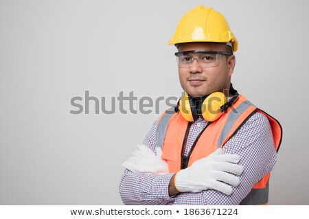 Artesano aislado blanco fábrica casco masculina Foto stock © photography33