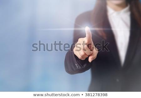mão · empurrando · sucesso · botão · isolado · branco - foto stock © adam121