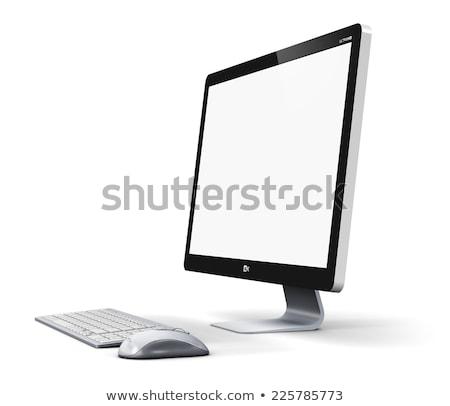 Foto stock: Ordenador · puesto · de · trabajo · aislado · supervisar · teclado · ratón