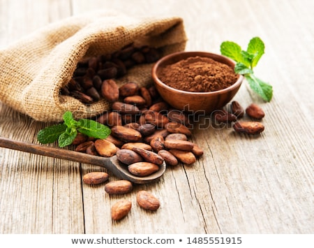 kakaóbab · fából · készült · tál · rusztikus · csokoládé · klasszikus - stock fotó © anskuw