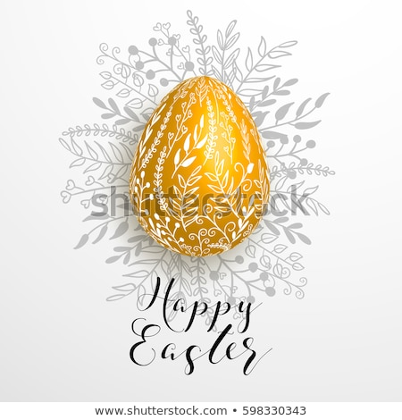 Elegant Card With Gold-Decorated Easter Eggs stock photo © karolinal