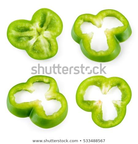 Doorsnede groene peper geïsoleerd witte kruis Stockfoto © ozaiachin