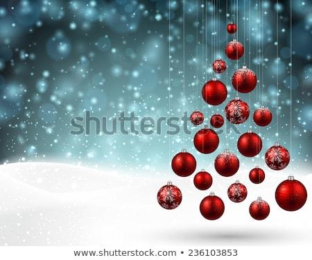 kırmızı · Noel · top · mavi · sanat · kar - stok fotoğraf © orson