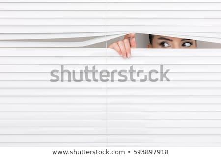 kobieta · szpiegowanie · żaluzje · oka · portret · młodych - zdjęcia stock © photography33