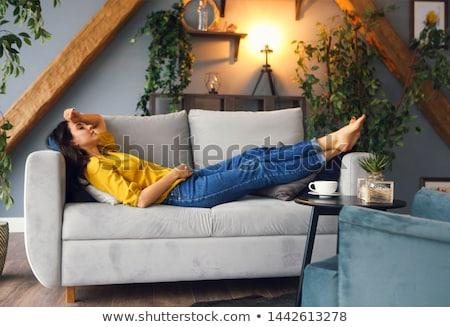 boldog · fiatal · nő · párna · ágy · otthon · alszik - stock fotó © wavebreak_media