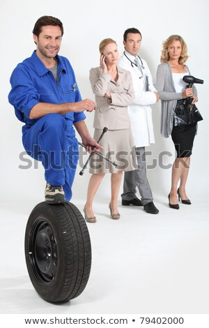 Hairdresser, mechanic, doctor and secretary. Stock photo © photography33