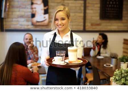 feliz · jóvenes · elegante · camarero · blanco - foto stock © pzaxe