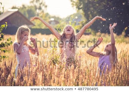 девочку играет за пределами Stick трава деревья Сток-фото © joseph73