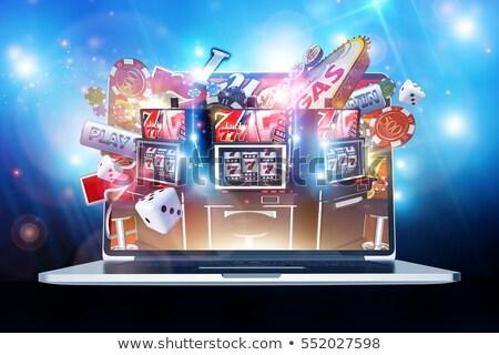 Ilustração 3d jogos de azar internet jogar on-line laptop Foto stock © kolobsek