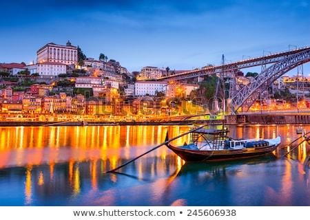 stad · Portugal · schemering · water · gebouwen · nacht - stockfoto © dinozzaver