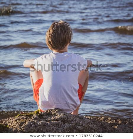 ビーチ · シャツ · 赤ちゃん · 楽しい · 少年 - ストックフォト © photography33