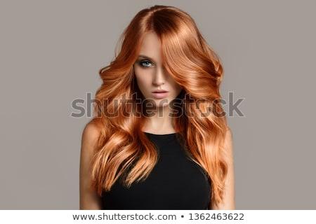 atraente · mulher · jovem · lábios · vermelhos · olhando · de · volta · em · pé - foto stock © len44ik