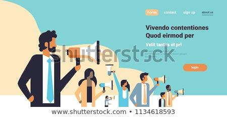 Zakenman protest afbeelding ontwerp achtergrond Blauw Stockfoto © cteconsulting