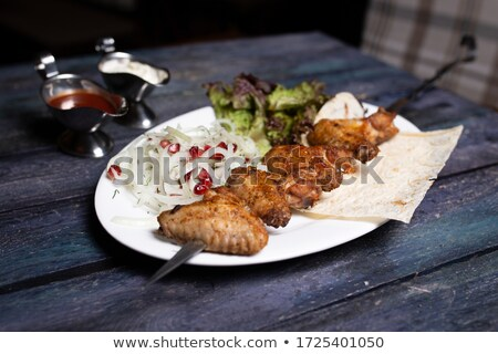 Chicken and Beef on Grill Stock photo © wolterk