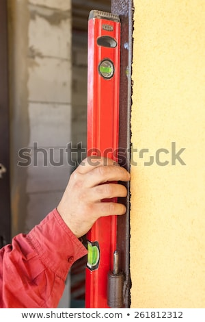 Szint fából készült ajtó kék munkás ipari Stock fotó © photography33