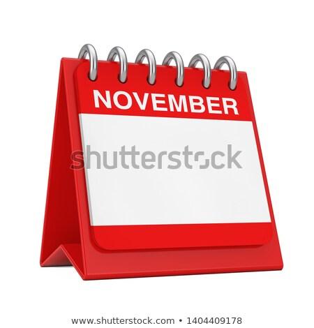 Desktop kalender Rood icon tijd witte Stockfoto © tashatuvango