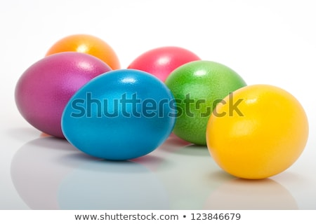 Easter bunny with lots of colorful eggs  Stock photo © photochecker