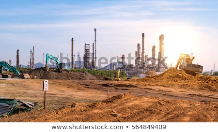 Photo stock: Blue Pipelines At Construction Site