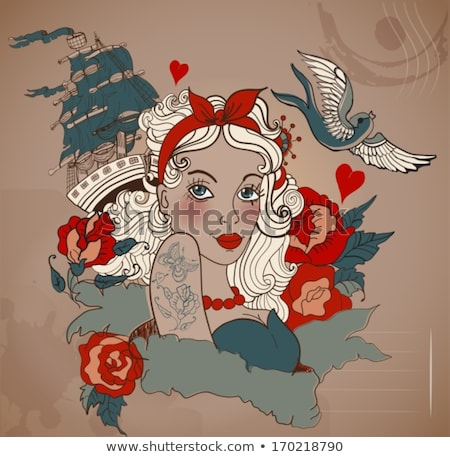 Old-school styled tattoo woman with bird and ship Stock photo © Elmiko