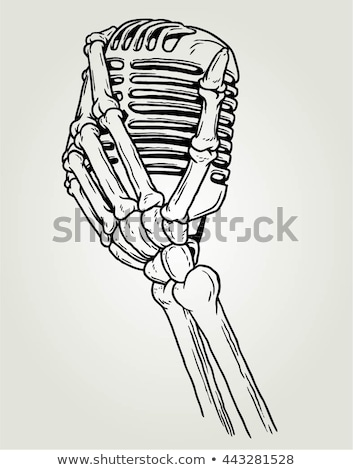Stock photo: skeleton hand holding microphone