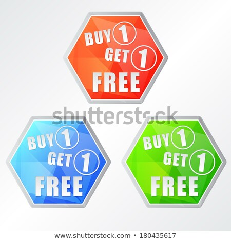 buy one get one free, three colors hexagons labels Stock photo © marinini
