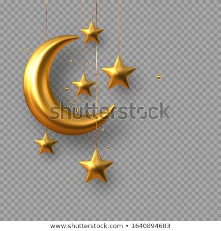 Halve maan gouden zwarte 3d render ontwerp achtergrond Stockfoto © Koufax73