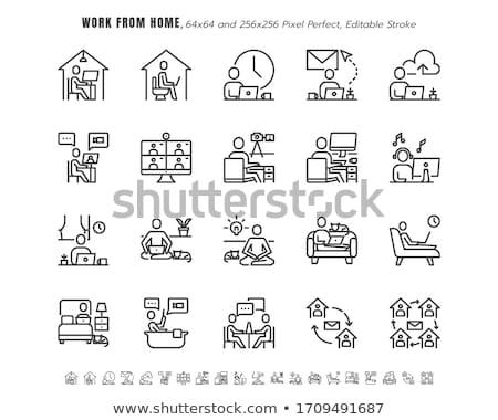 Ház munka nő sok karok kész Stock fotó © jayfish