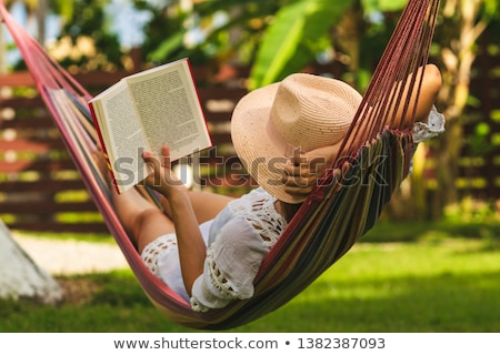 гамак веревку подвесной саду оазис расслабиться Сток-фото © kimmit