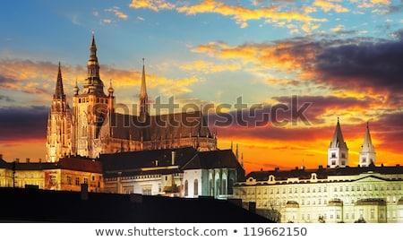Prag · kale · gece · görmek · yansıma · nehir - stok fotoğraf © phbcz