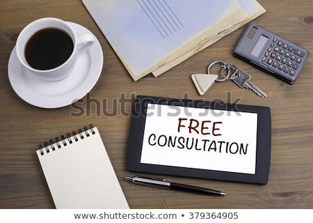 Foto stock: Tableta · escritorio · libre · consulta · negocios · café