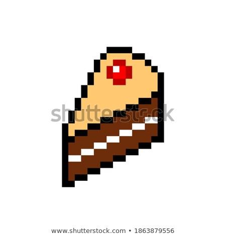 seamless pattern pixel cakes with fruits on white background stock photo © elenapro