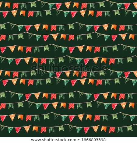 Seamless string of Christmas flags isolated on white Stock photo © Hermione