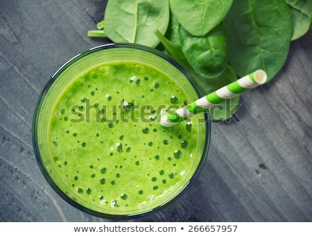 Сток-фото: A Green Smoothie With A Drinking Straw