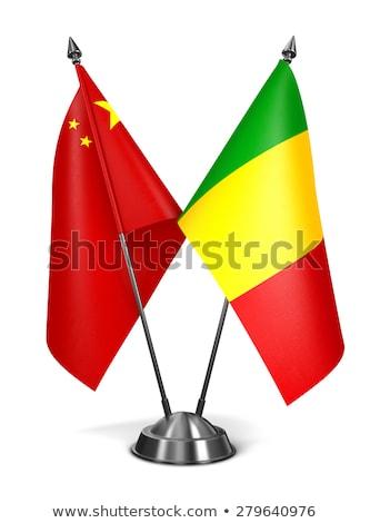 Китай Мали миниатюрный флагами изолированный белый Сток-фото © tashatuvango