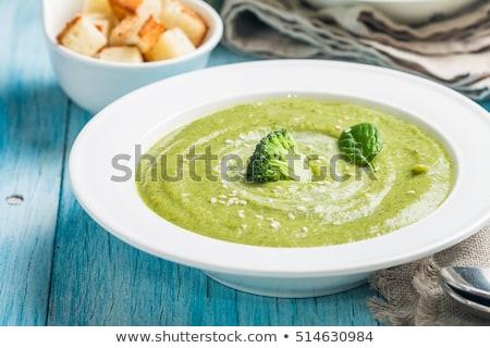 Stok fotoğraf: Krem · brokoli · pırasa · tost · ekmek · seramik