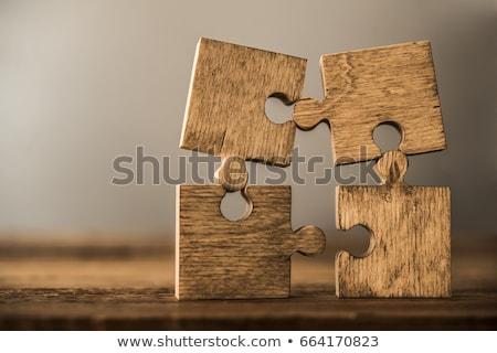 bilmece · ahşap · masa · puzzle · parçaları · inşaat · arka · plan · büro - stok fotoğraf © stevanovicigor