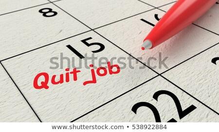 Stock photo: Quit Job note on agenda and pen