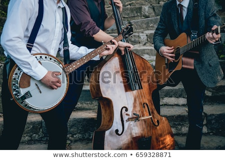 Toplama tipik müzik aletleri siluet beyaz çim Stok fotoğraf © Bigalbaloo