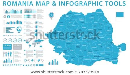 Mapa Romênia viajar vermelho vetor Foto stock © rbiedermann