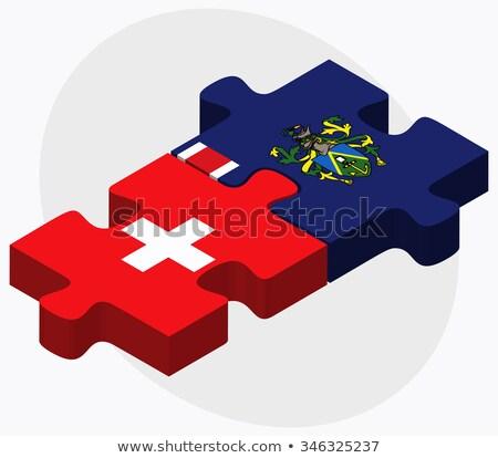 Svájc szigetek zászlók puzzle izolált fehér Stock fotó © Istanbul2009