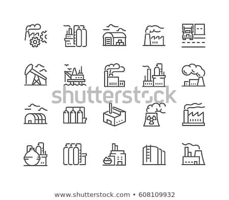 Fábrica linha ícone teia móvel infográficos Foto stock © RAStudio