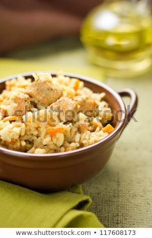 mixed rice with chicken meat and vegetables stock photo © digifoodstock