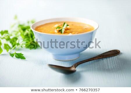 çorba · kırmızı · plaka · sonbahar · beyaz · biber - stok fotoğraf © digifoodstock