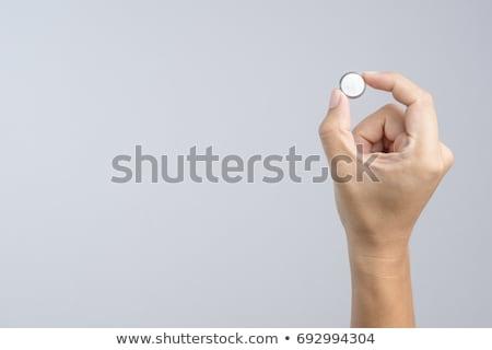Batterij knoppen witte achtergrond Rood macht Stockfoto © bluering